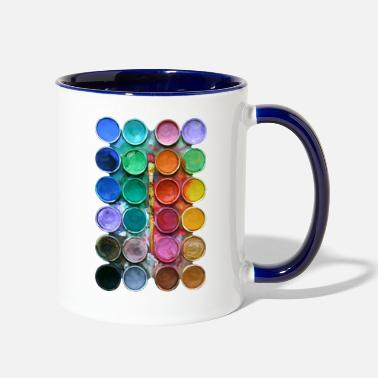 Pallet watercolor rainbow abstraction pallete T-shirt - Two-Tone Mug