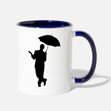 Man with an umbrella in black - Two-Tone Mug