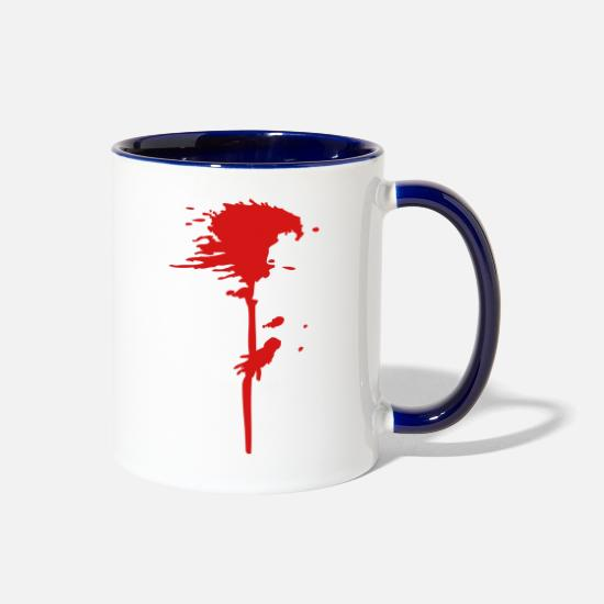 Blood Mugs & Drinkware - Blood splatter - Two-Tone Mug white/cobalt blue