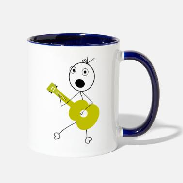 Stick Drawing with a Guitar playing Stick Figure - Two-Tone Mug