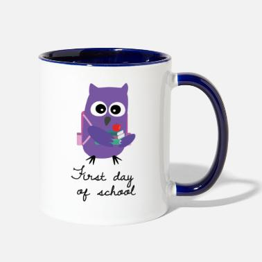 School Starter Owl Owlet First Day School - Two-Tone Mug