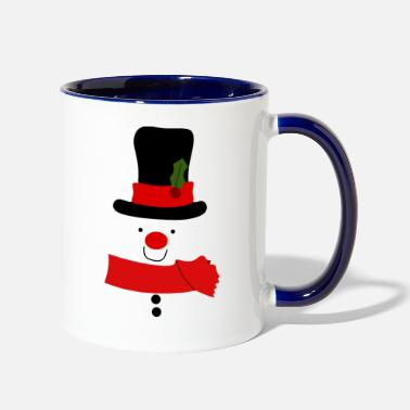 Snowman with Large Hat - Two-Tone Mug