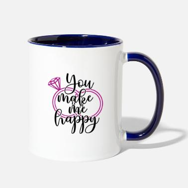 Groom Wedding Present: You make me happy - Two-Tone Mug
