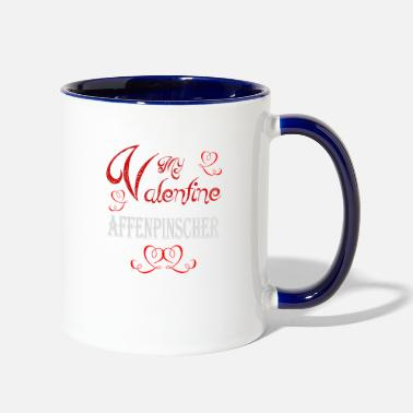 Romantic A romantic A romantic Valentine with my Affenpinsc - Two-Tone Mug