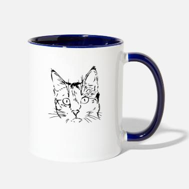 Cat Face cat face - Two-Tone Mug