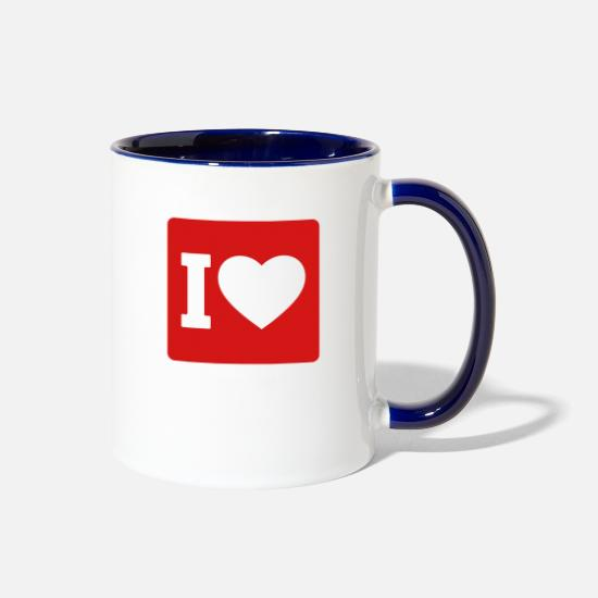 Passion Mugs & Drinkware - I love - Two-Tone Mug white/cobalt blue