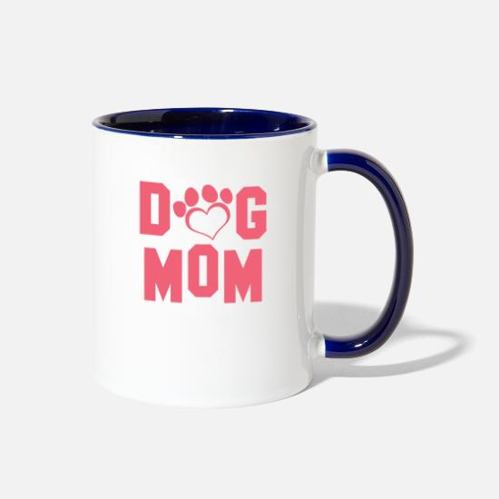 Dog Mugs & Drinkware - Dog Mom Womens Mothers Day - Two-Tone Mug white/cobalt blue