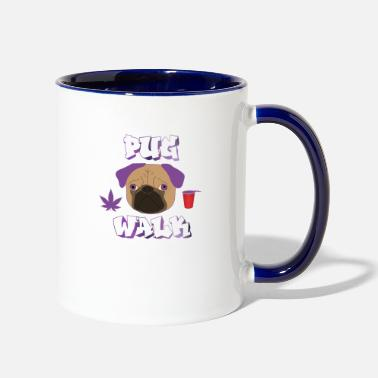 Cannabis pug walk I plug walk I trap I hip hop I puppy gift - Two-Tone Mug