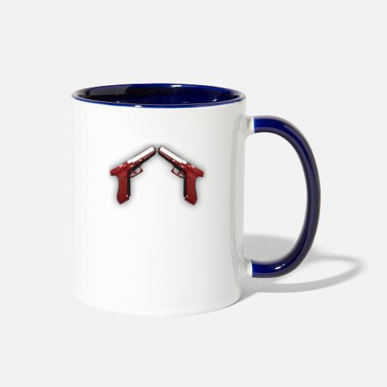 Red Mugs & Drinkware - Double Weapon Blood Red - Two-Tone Mug white/cobalt blue