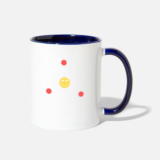 Science Mugs & Drinkware - Cute Happy Atom Stay Positive - Two-Tone Mug white/cobalt blue