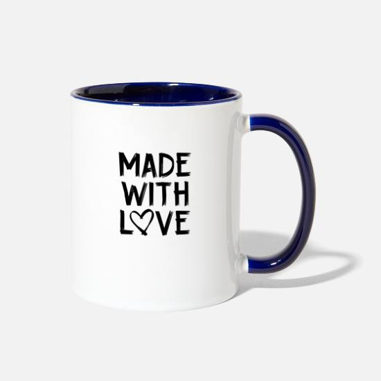 Love Mugs & Drinkware - MADE WITH LOVE HEARTLY CUTE SWEET PASSION GIFT - Two-Tone Mug white/cobalt blue