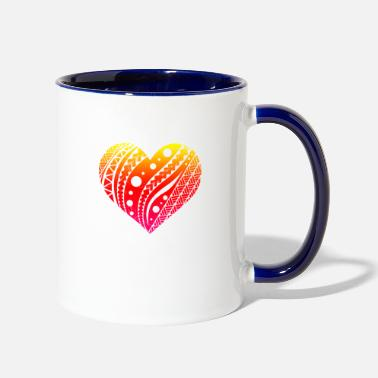 New Zealand Samoan Fatu Heart Tribal Tattoo Gift Idea - Two-Tone Mug
