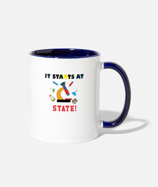 Studies Mugs & Cups - It Starts At STATE! -Science Majors - Two-Tone Mug white/cobalt blue