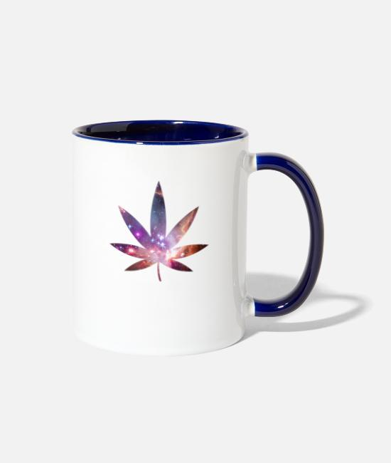 420 Mugs & Cups - Pot Leaf - Cosmic Texture - Two-Tone Mug white/cobalt blue