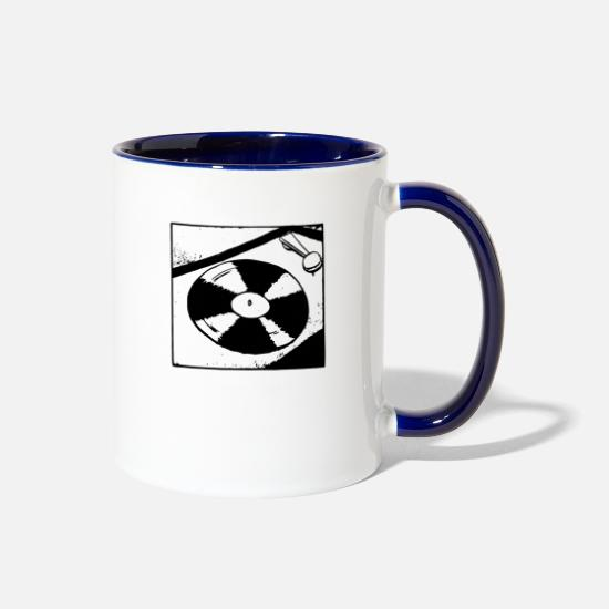 Song Mugs & Drinkware - Simple Turntable - Two-Tone Mug white/cobalt blue