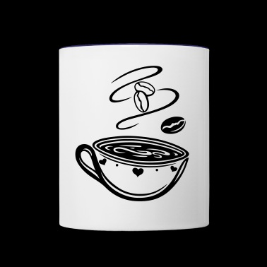 Coffee Cup with coffee beans and hearts. - Contrast Coffee Mug