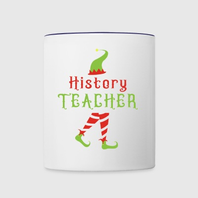 History Teacher Cute TEACHER ELF Christmas - Contrast Coffee Mug