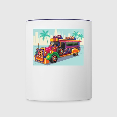 Philippine Jeep vector Illustration or Jeepney - Contrast Coffee Mug