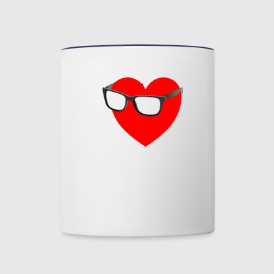 Nerd nerdy I love couple relationship computer pc - Contrast Coffee Mug