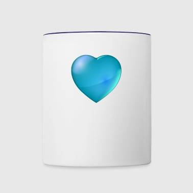 Big heart, aqua blue - Contrast Coffee Mug