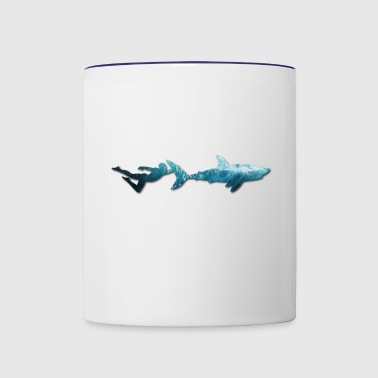 Swimming with sharks. Freediving. - Contrast Coffee Mug