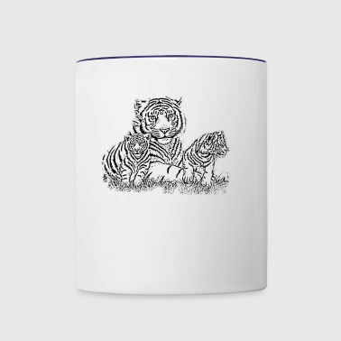Tiger Cub, tiger with babies, Tiger Moms and Cubs - Contrast Coffee Mug