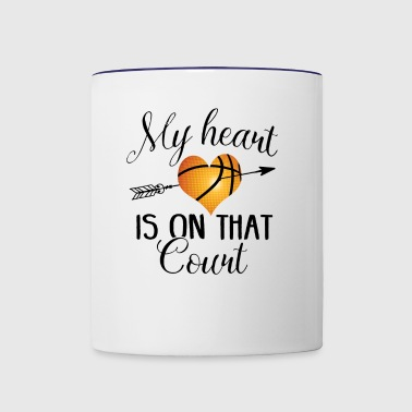 Basketball Mom my heart is on that court Shirt - Contrast Coffee Mug