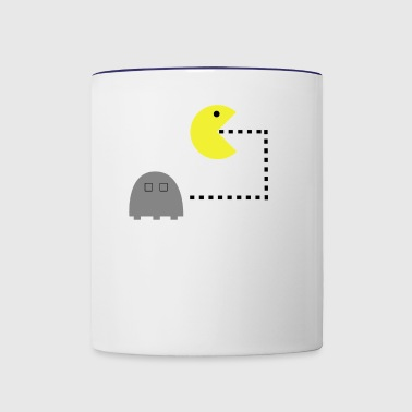 pacman retro computer game gaming gift present - Contrast Coffee Mug