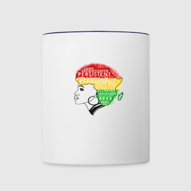 black fist afro together - Contrast Coffee Mug