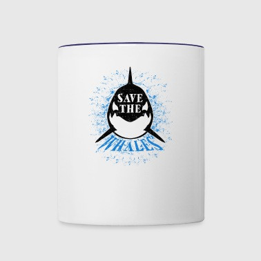Save the Whales Orcas Distressed Vintage Design - Contrast Coffee Mug