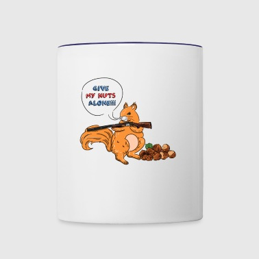 Funny squirrel with gun shirt. Give my nuts alone - Contrast Coffee Mug