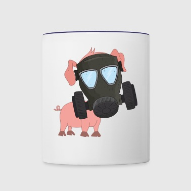 Pig with gas mask Air pollution - Contrast Coffee Mug