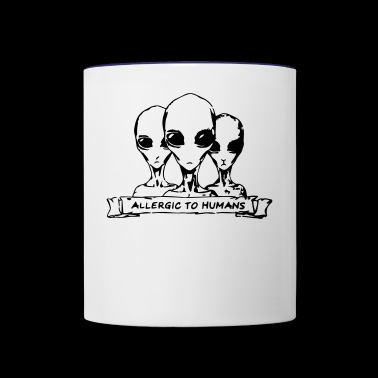 Allergic to Humans SciFi Aliens - Contrast Coffee Mug
