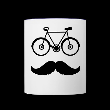 Hipster Bike Cyclist with Moustache - Contrast Coffee Mug