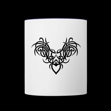 Tribal ornament with wings and heart. - Contrast Coffee Mug