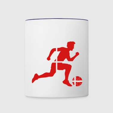 denmark denmark striker striker goalie attack run - Contrast Coffee Mug