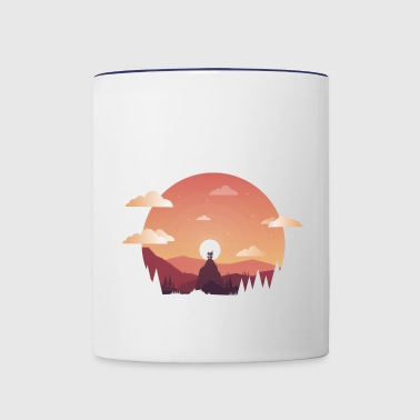 Hut on a hill design - Contrast Coffee Mug