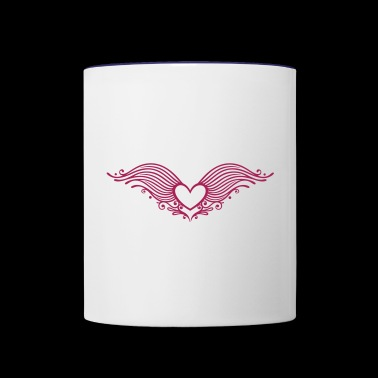 Filigree heart with wings. Winged heart. - Contrast Coffee Mug