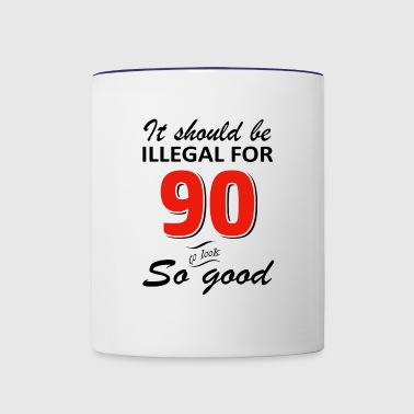Funny 90th year old birthday designs - Contrast Coffee Mug