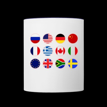 collection of flags from various countries - Contrast Coffee Mug