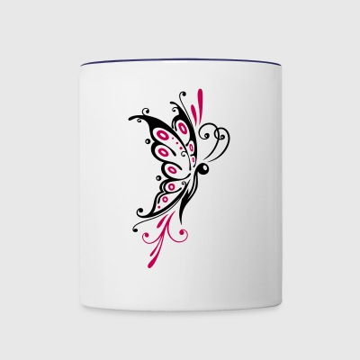 Big filigree butterfly, wings, girlie Tattoo style - Contrast Coffee Mug