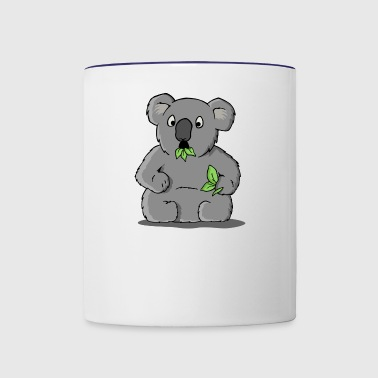 Cute Astonished Koala bear with Eucalyptus leaves - Contrast Coffee Mug
