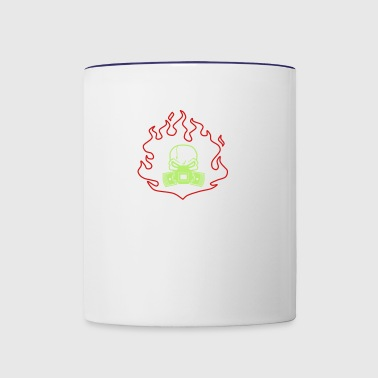 Head with Pistons in Fire - Contrast Coffee Mug
