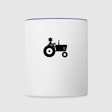 Farmer On Tractor - Contrast Coffee Mug