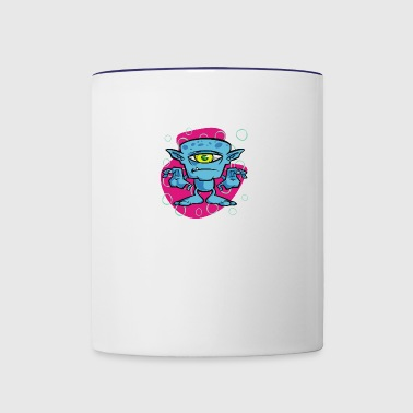 cartoon one eyed space monster - Contrast Coffee Mug