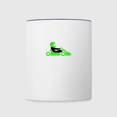 A Racer With Helmet And Car - Contrast Coffee Mug