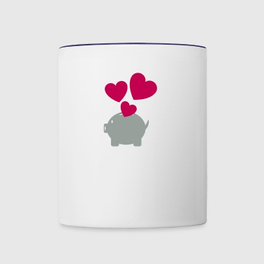 Piggy Bank With Heart - Contrast Coffee Mug