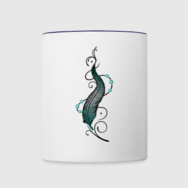 Feather with chain and pearls, indian style. - Contrast Coffee Mug
