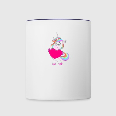 Rainbow unicorn with big heart - Contrast Coffee Mug