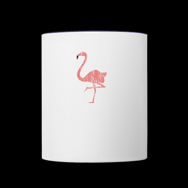Oldschool grungy flamingo battered look vintage - Contrast Coffee Mug